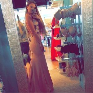 Faviana Pink flower prom dress